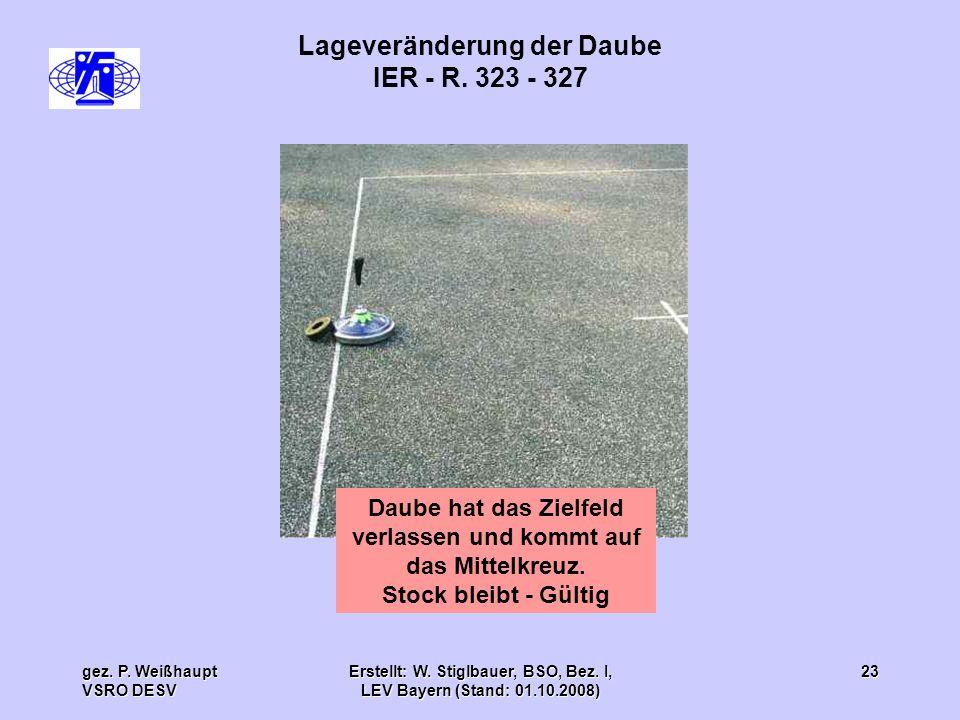 gez. P. Weißhaupt VSRO DESV Erstellt: W. Stiglbauer, BSO, Bez. I, LEV Bayern (Stand: 01.10.2008) 23 Lageveränderung der Daube IER - R. 323 - 327 Daube