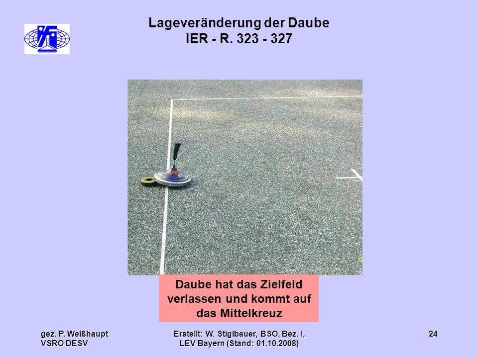 gez. P. Weißhaupt VSRO DESV Erstellt: W. Stiglbauer, BSO, Bez. I, LEV Bayern (Stand: 01.10.2008) 24 Lageveränderung der Daube IER - R. 323 - 327 Daube