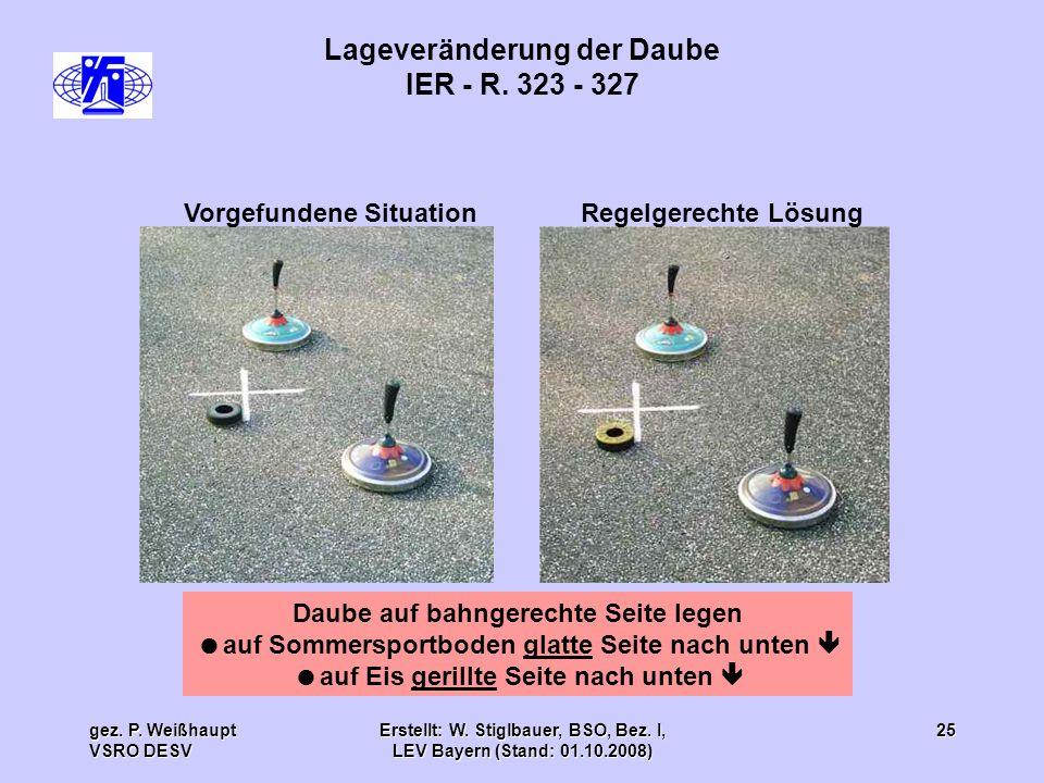gez. P. Weißhaupt VSRO DESV Erstellt: W. Stiglbauer, BSO, Bez. I, LEV Bayern (Stand: 01.10.2008) 25 Lageveränderung der Daube IER - R. 323 - 327 Daube