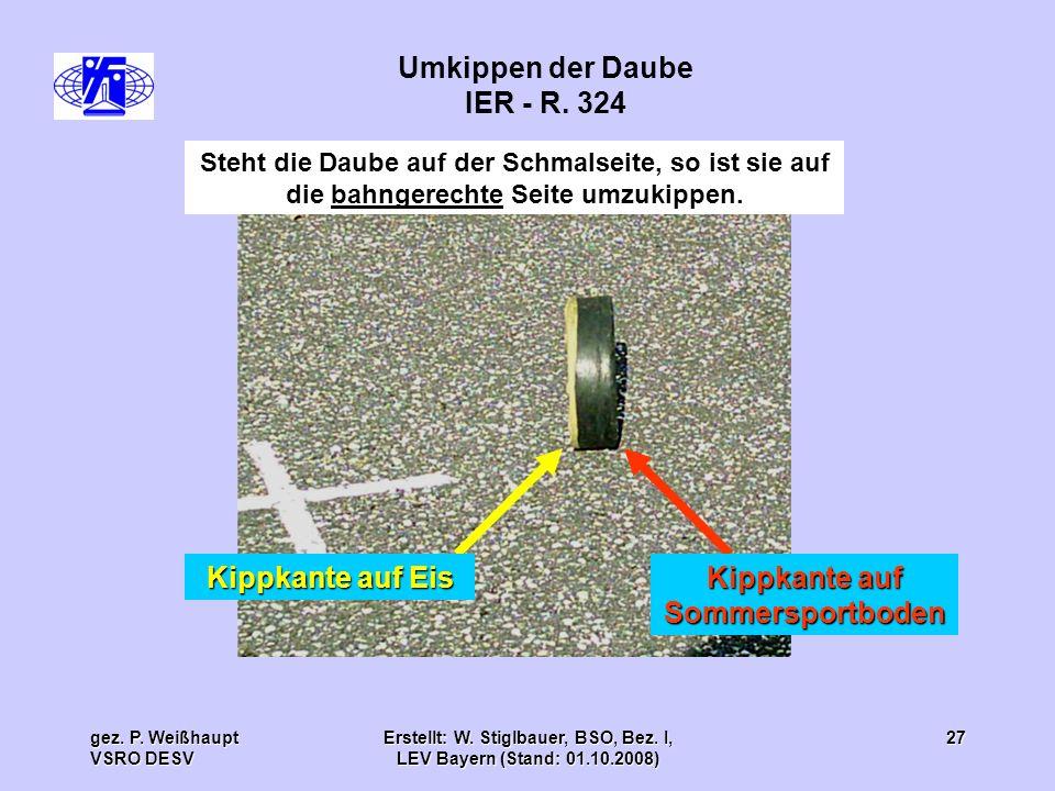 gez. P. Weißhaupt VSRO DESV Erstellt: W. Stiglbauer, BSO, Bez. I, LEV Bayern (Stand: 01.10.2008) 27 Steht die Daube auf der Schmalseite, so ist sie au