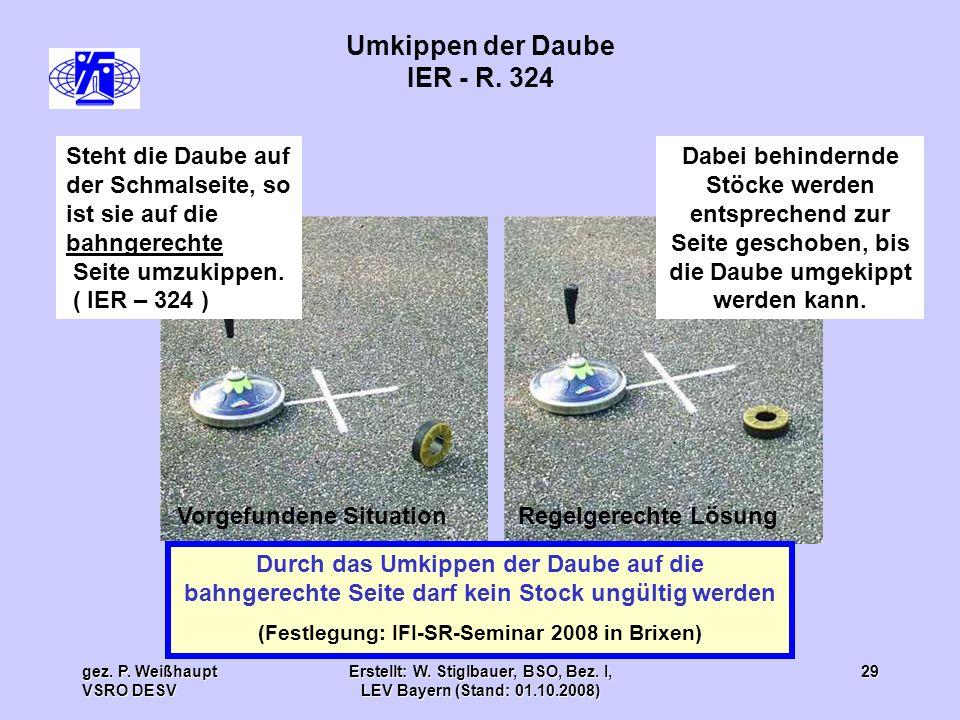 gez. P. Weißhaupt VSRO DESV Erstellt: W. Stiglbauer, BSO, Bez. I, LEV Bayern (Stand: 01.10.2008) 29 Umkippen der Daube IER - R. 324 Durch das Umkippen
