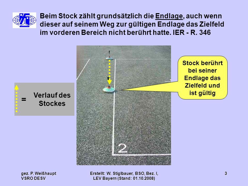 gez. P. Weißhaupt VSRO DESV Erstellt: W. Stiglbauer, BSO, Bez. I, LEV Bayern (Stand: 01.10.2008) 3 Stock berührt bei seiner Endlage das Zielfeld und i