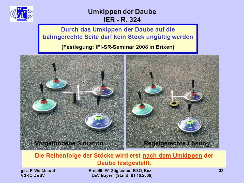 gez. P. Weißhaupt VSRO DESV Erstellt: W. Stiglbauer, BSO, Bez. I, LEV Bayern (Stand: 01.10.2008) 32 Umkippen der Daube IER - R. 324 Durch das Umkippen