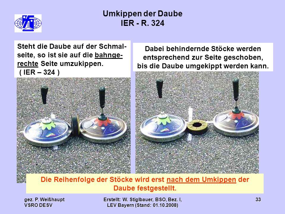 gez. P. Weißhaupt VSRO DESV Erstellt: W. Stiglbauer, BSO, Bez. I, LEV Bayern (Stand: 01.10.2008) 33 Umkippen der Daube IER - R. 324 Steht die Daube au