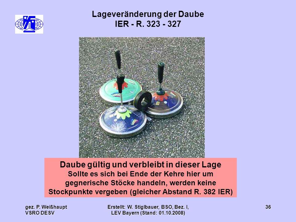 gez. P. Weißhaupt VSRO DESV Erstellt: W. Stiglbauer, BSO, Bez. I, LEV Bayern (Stand: 01.10.2008) 36 Lageveränderung der Daube IER - R. 323 - 327 Daube
