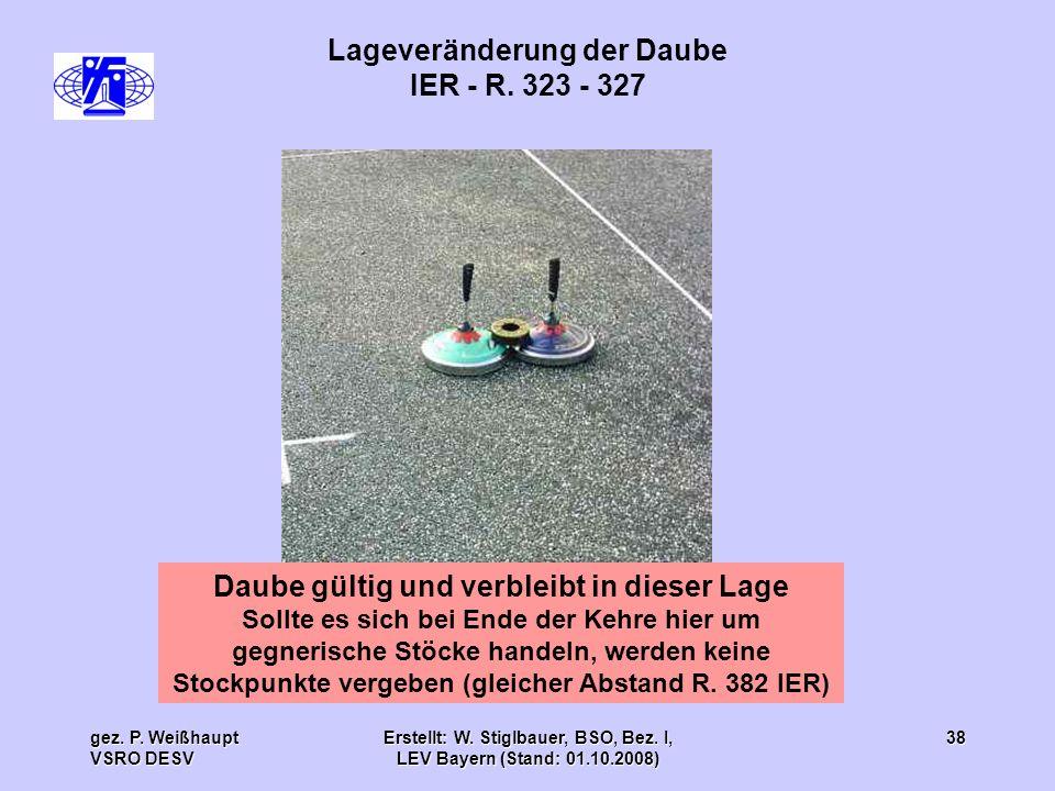 gez. P. Weißhaupt VSRO DESV Erstellt: W. Stiglbauer, BSO, Bez. I, LEV Bayern (Stand: 01.10.2008) 38 Lageveränderung der Daube IER - R. 323 - 327 Daube