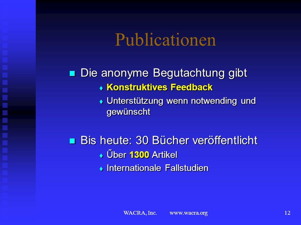 WACRA, Inc. www.wacra.org11 Konferenz Modus Operandi Anonyme Begutachtung und Auswahl Anonyme Begutachtung und Auswahl Für Konferenz Vorträge Für Konf