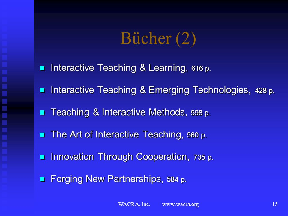 WACRA, Inc. www.wacra.org14 Bücher (1) Interactive Teaching and Learning in a Global Context, 599 p. Interactive Teaching and Learning in a Global Con