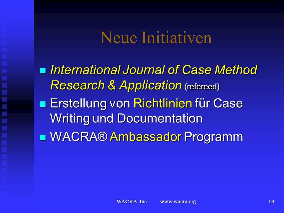 WACRA, Inc. www.wacra.org17 Initiativen in Zentral Europa Prag, Tschechoslovakei, 1990 Prag, Tschechoslovakei, 1990 Berlin (Ost), Deutschland, 1991 Be