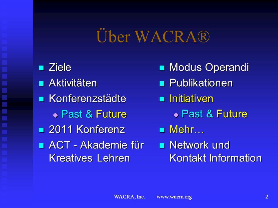 WACRA, Inc. www.wacra.org1 Interaktives Lehren & Lernen mit Fallstudien Interaction & Innovation Dr. Hans E. Klein, C.M.A. WACRA®