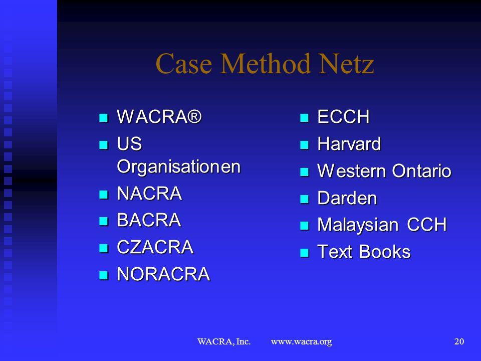 WACRA, Inc. www.wacra.org19 WACRA® bietet mehr… Einblick in kulturelle, historische, soziale Aspekte des Gastlandes Einblick in kulturelle, historisch