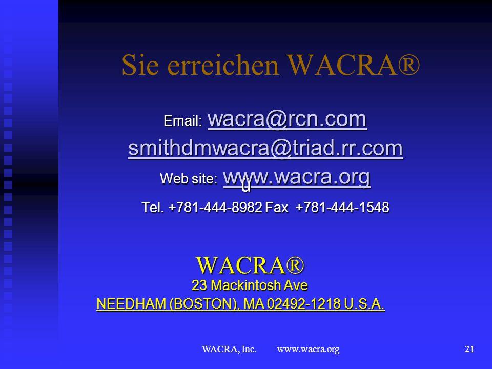 WACRA, Inc. www.wacra.org20 Case Method Netz WACRA® WACRA® US Organisationen US Organisationen NACRA NACRA BACRA BACRA CZACRA CZACRA NORACRA NORACRA E
