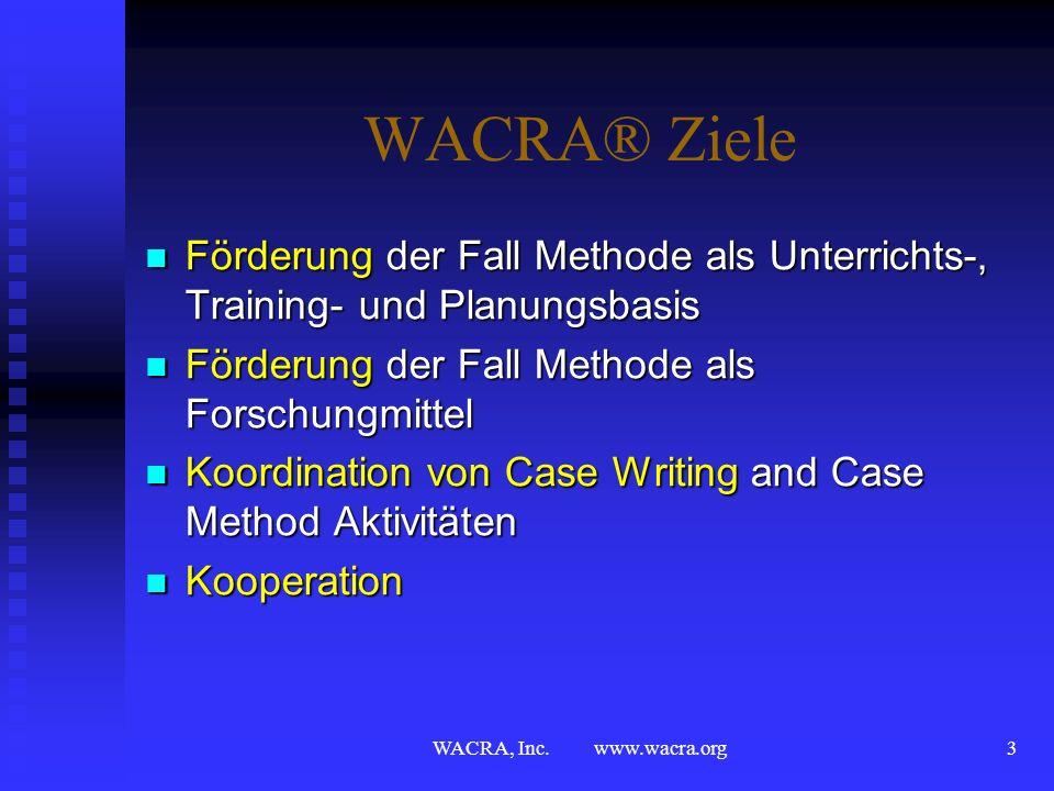 WACRA, Inc. www.wacra.org2 Über WACRA® Ziele Ziele Aktivitäten Aktivitäten Konferenzstädte Konferenzstädte Past & Future Past & Future 2011 Konferenz