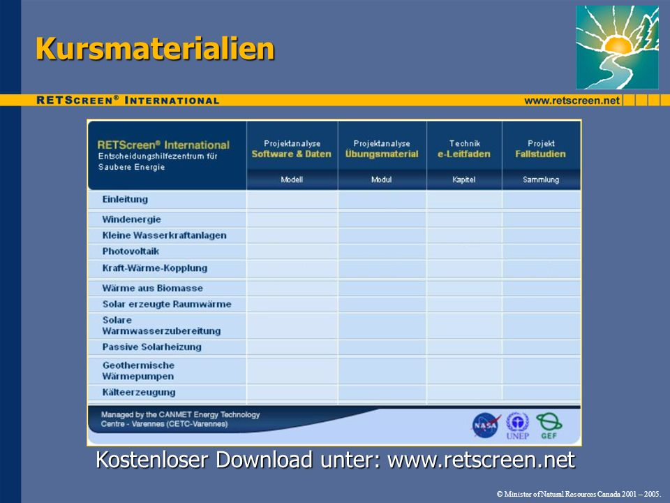 Kostenloser Download unter: www.retscreen.net © Minister of Natural Resources Canada 2001 – 2005. Kursmaterialien