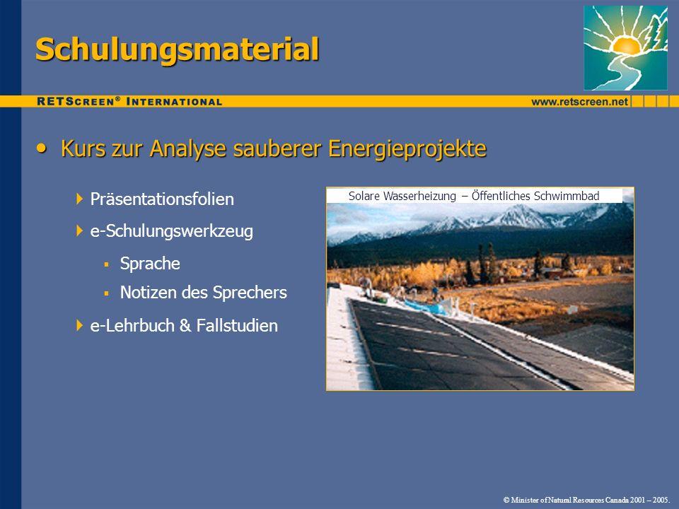 Kurs zur Analyse sauberer Energieprojekte Kurs zur Analyse sauberer Energieprojekte Präsentationsfolien e-Schulungswerkzeug Sprache Notizen des Sprech