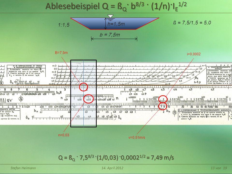 Stefan Heimann14. April 201213 von 19 h=1,5m b = 7,5m ß = 7,5/1,5 = 5,0 1:1,5 Q = ß Q · 7,5 8/3 ·(1/0,03) ·0,0002 1/2 = 7,49 m/s Ablesebeispiel Q = ß