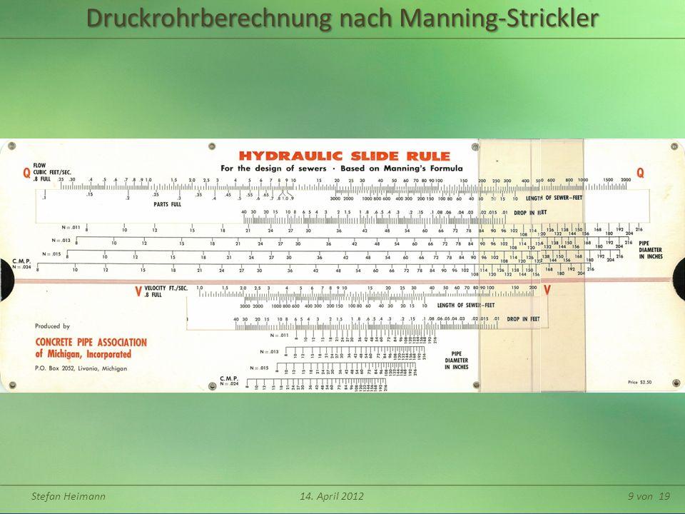 Stefan Heimann14. April 201210 von 19Trapezquerschnitt h 1 m b 1:m ω