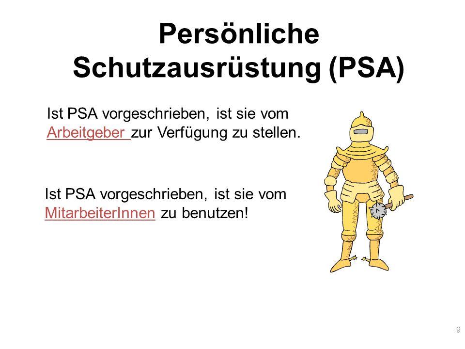 9 Persönliche Schutzausrüstung (PSA) Ist PSA vorgeschrieben, ist sie vom Arbeitgeber zur Verfügung zu stellen. Ist PSA vorgeschrieben, ist sie vom Mit
