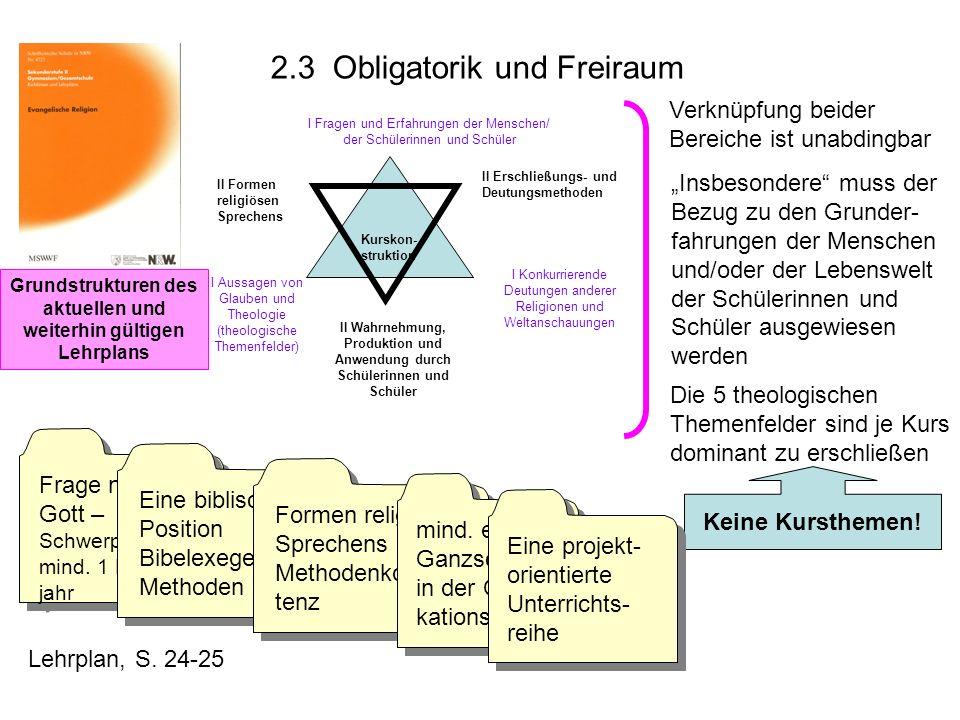 Grundstrukturen des aktuellen und weiterhin gültigen Lehrplans Kurskon- struktion I Fragen und Erfahrungen der Menschen/ der Schülerinnen und Schüler