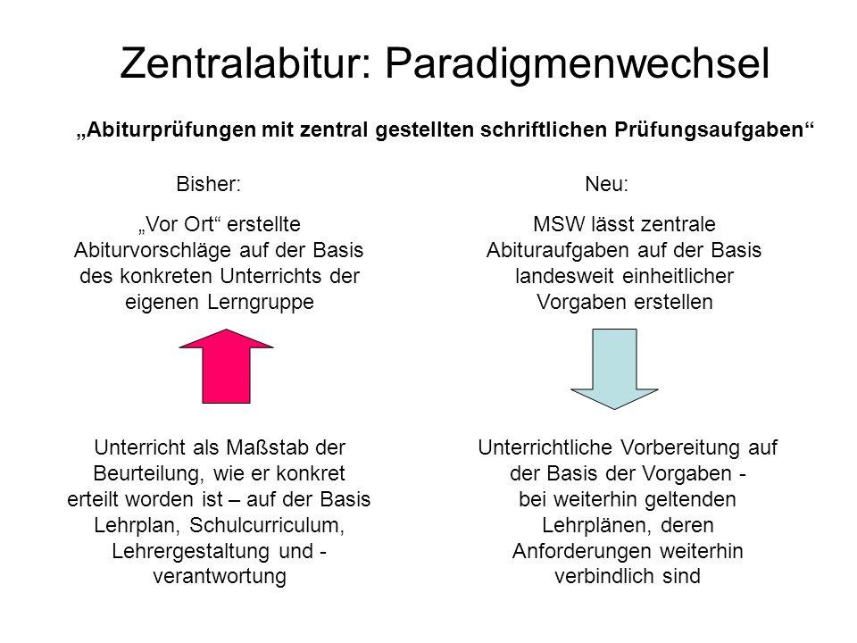 Zentralabitur: Paradigmenwechsel Vor Ort erstellte Abiturvorschläge auf der Basis des konkreten Unterrichts der eigenen Lerngruppe Unterricht als Maßs