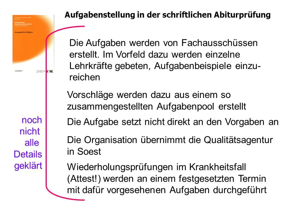 Aufgabenstellung in der schriftlichen Abiturprüfung Die Organisation übernimmt die Qualitätsagentur in Soest Vorschläge werden dazu aus einem so zusam