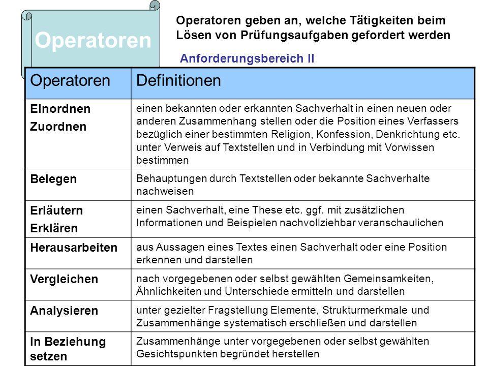 Operatoren geben an, welche Tätigkeiten beim Lösen von Prüfungsaufgaben gefordert werden Operatoren Definitionen Einordnen Zuordnen einen bekannten od