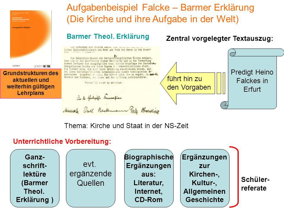 Zentral vorgelegter Textauszug: Unterrichtliche Vorbereitung: Ganz- schrift- lektüre (Barmer Theol. Erklärung ) evt. ergänzende Quellen Ergänzungen zu