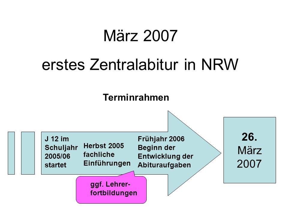 März 2007 erstes Zentralabitur in NRW 26. März 2007 J 12 im Schuljahr 2005/06 startet Herbst 2005 fachliche Einführungen Frühjahr 2006 Beginn der Entw