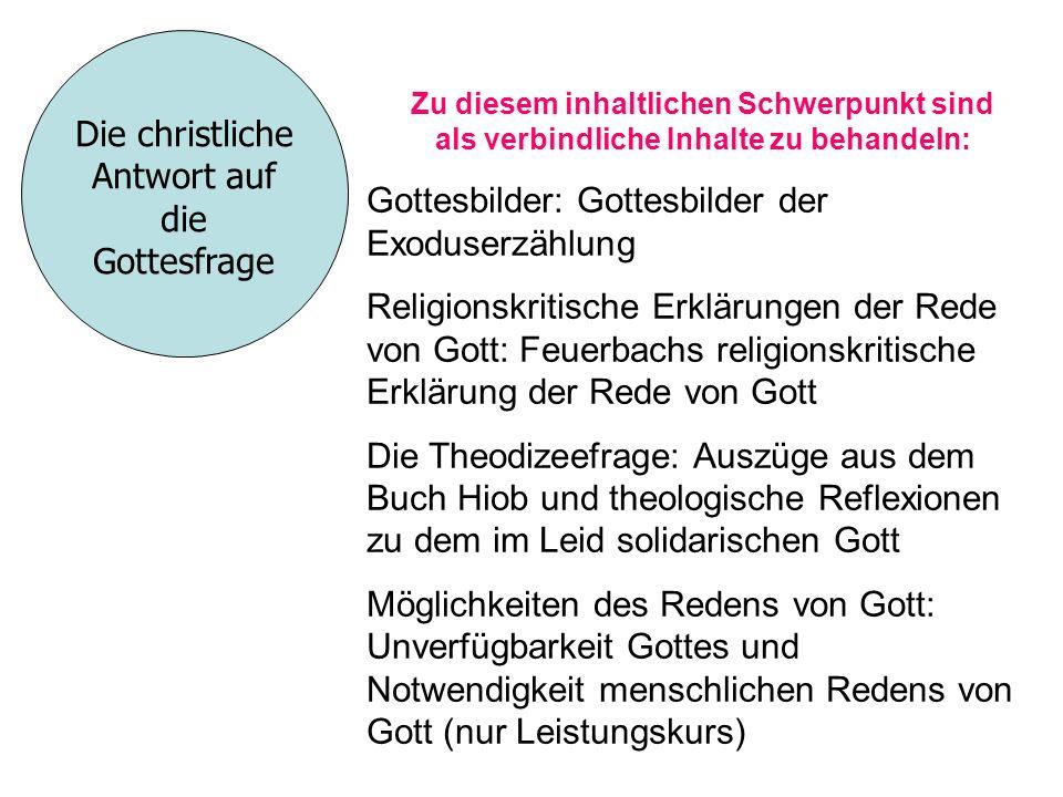 Die christliche Antwort auf die Gottesfrage Zu diesem inhaltlichen Schwerpunkt sind als verbindliche Inhalte zu behandeln: Gottesbilder: Gottesbilder