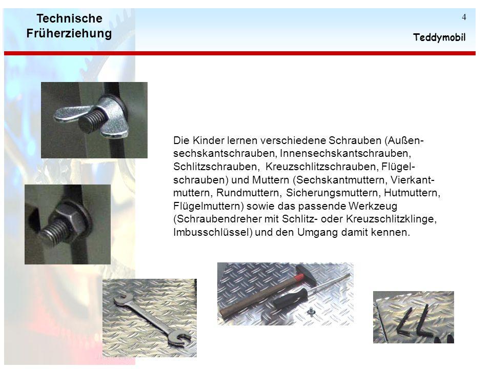 Technische Früherziehung Teddymobil 3 An den Seitenwänden können kleinere Blechplatten unterschiedlichster Form angeschraubt werden, und zu kreativen