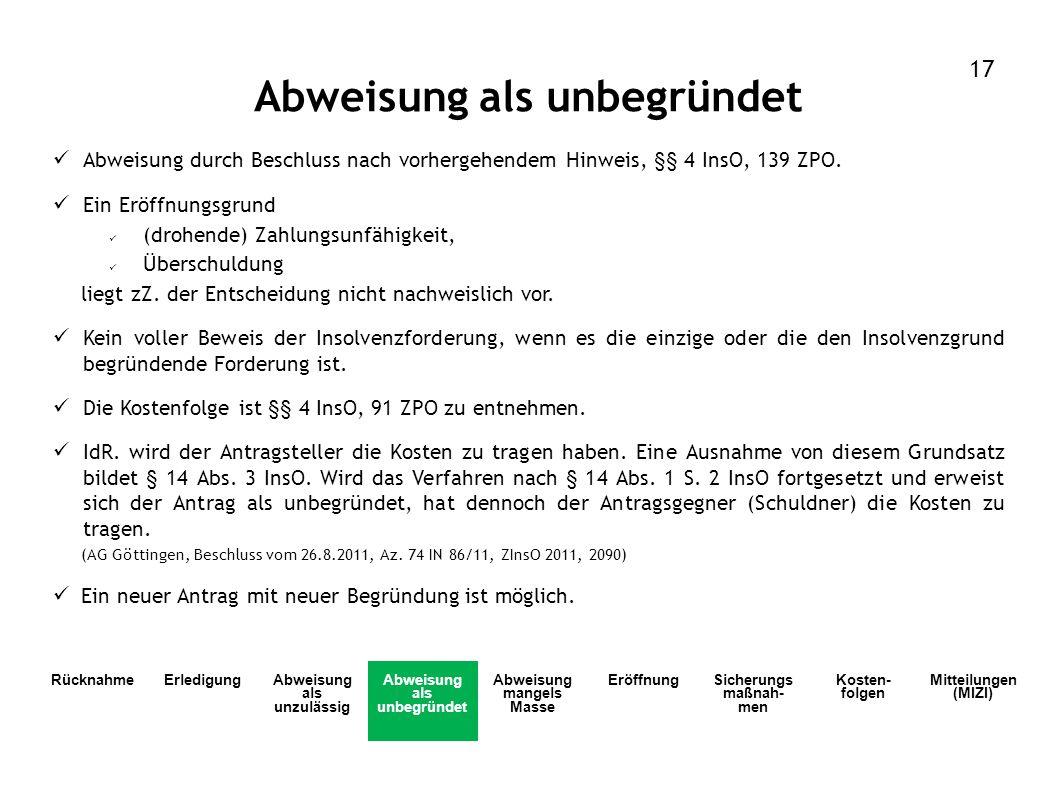 Abweisung als unbegründet Abweisung durch Beschluss nach vorhergehendem Hinweis, §§ 4 InsO, 139 ZPO. Ein Eröffnungsgrund (drohende) Zahlungsunfähigkei
