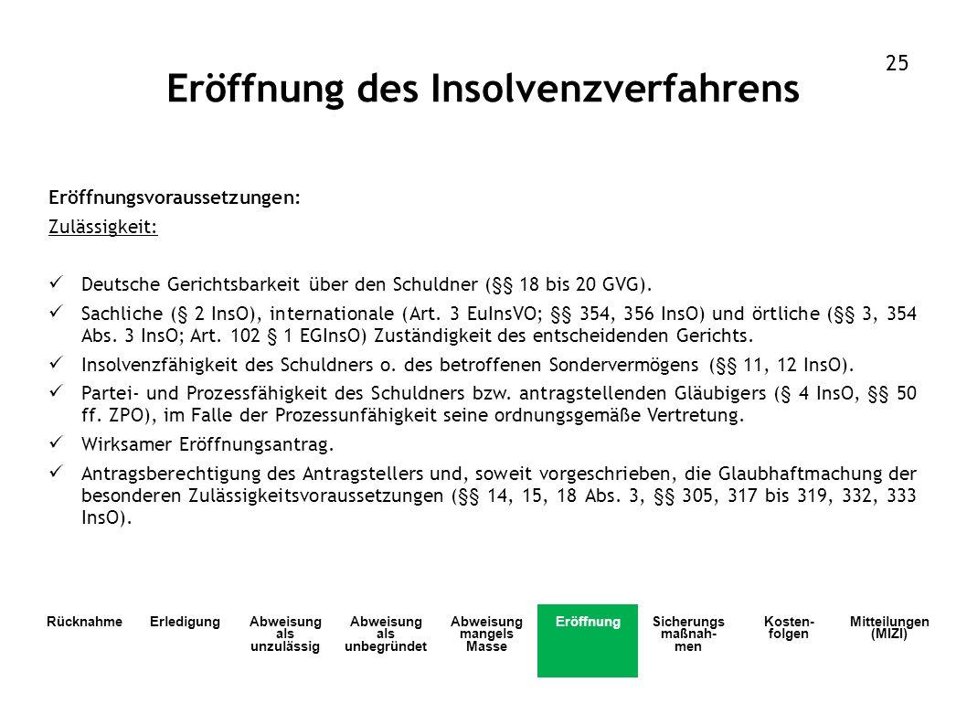 Eröffnungsvoraussetzungen: Zulässigkeit: Deutsche Gerichtsbarkeit über den Schuldner (§§ 18 bis 20 GVG). Sachliche (§ 2 InsO), internationale (Art. 3