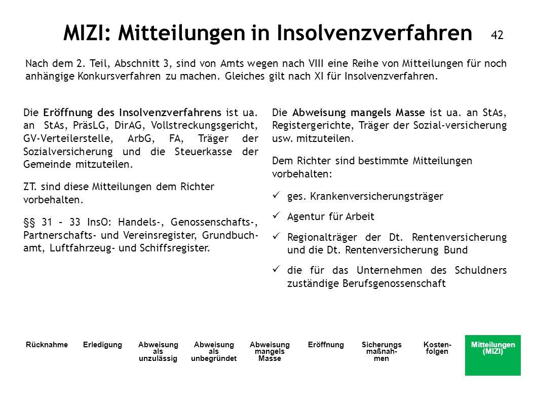 MIZI: Mitteilungen in Insolvenzverfahren Die Eröffnung des Insolvenzverfahrens ist ua. an StAs, PräsLG, DirAG, Vollstreckungsgericht, GV-Verteilerstel