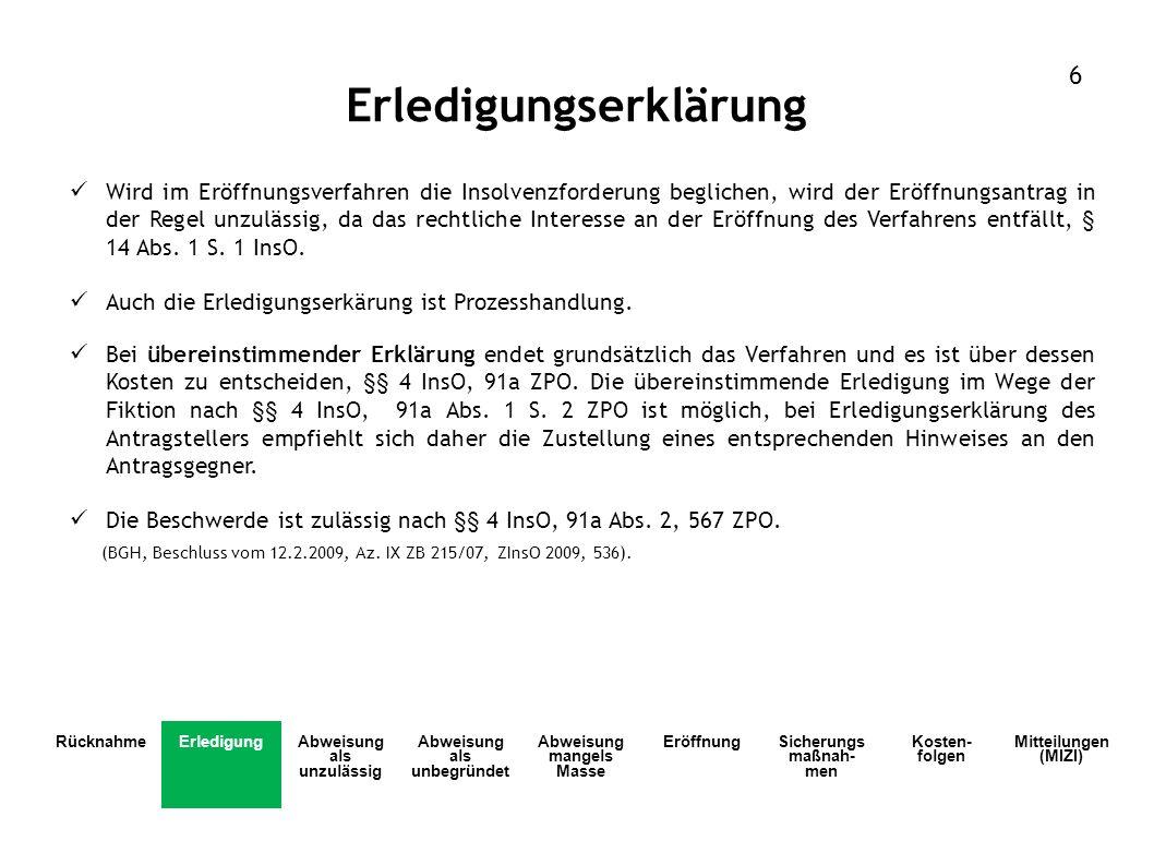 Eröffnung durch zu veröffentlichenden und nach § 30 InsO (Gläubigern d.