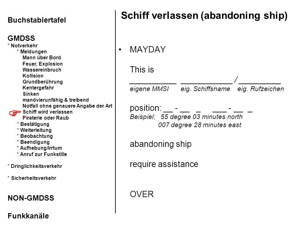 Schiff verlassen (abandoning ship) MAYDAY This is __________ ___________ / _________ eigene MMSI eig. Schiffsname eig. Rufzeichen position: __ - __ _