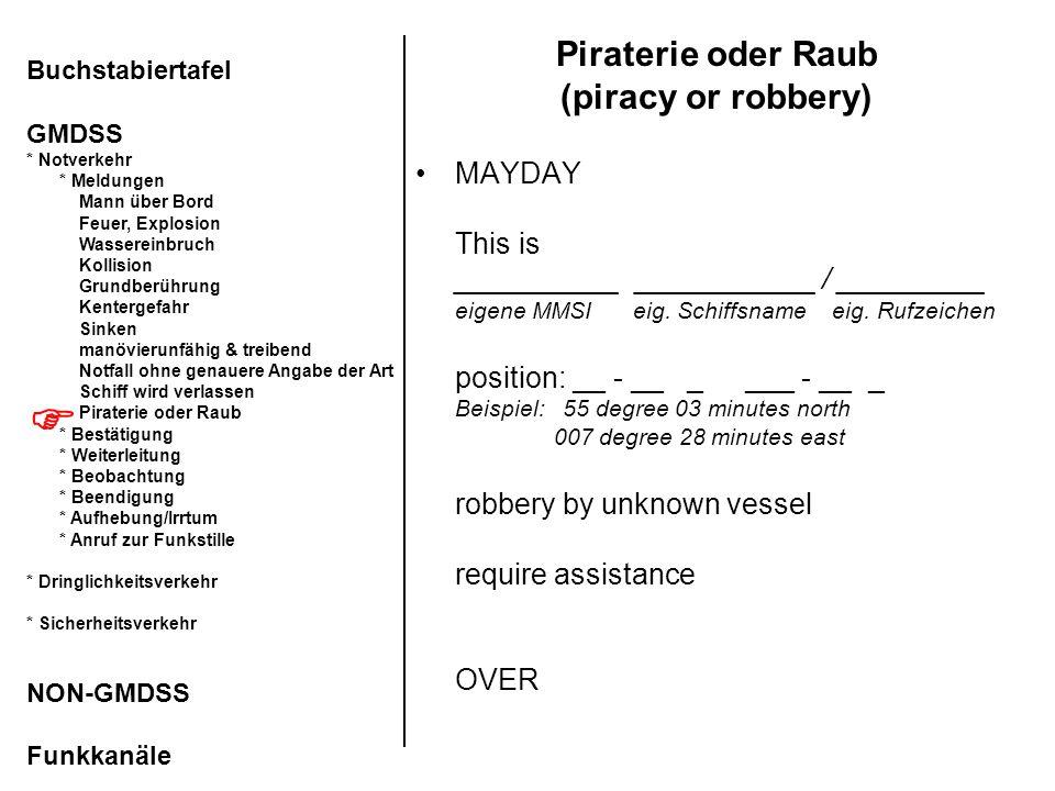 Piraterie oder Raub (piracy or robbery) MAYDAY This is __________ ___________ / _________ eigene MMSI eig. Schiffsname eig. Rufzeichen position: __ -