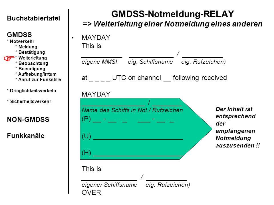 GMDSS-Notmeldung-RELAY => Weiterleitung einer Notmeldung eines anderen MAYDAY This is ___________ ____________ / ___________ eigene MMSI eig. Schiffsn