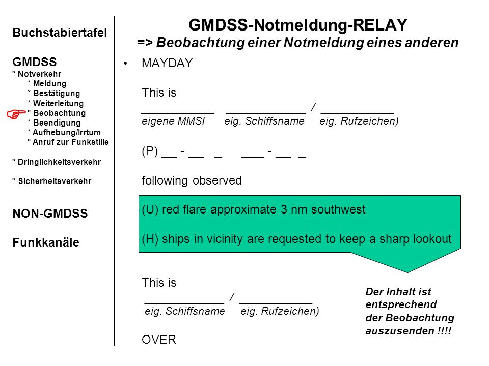 GMDSS-Notmeldung-RELAY => Beobachtung einer Notmeldung eines anderen MAYDAY This is ___________ ____________ / ___________ eigene MMSI eig. Schiffsnam