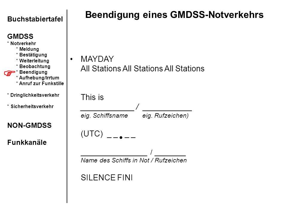 Beendigung eines GMDSS-Notverkehrs Buchstabiertafel GMDSS * Notverkehr * Meldung * Bestätigung * Weiterleitung * Beobachtung * Beendigung * Aufhebung/
