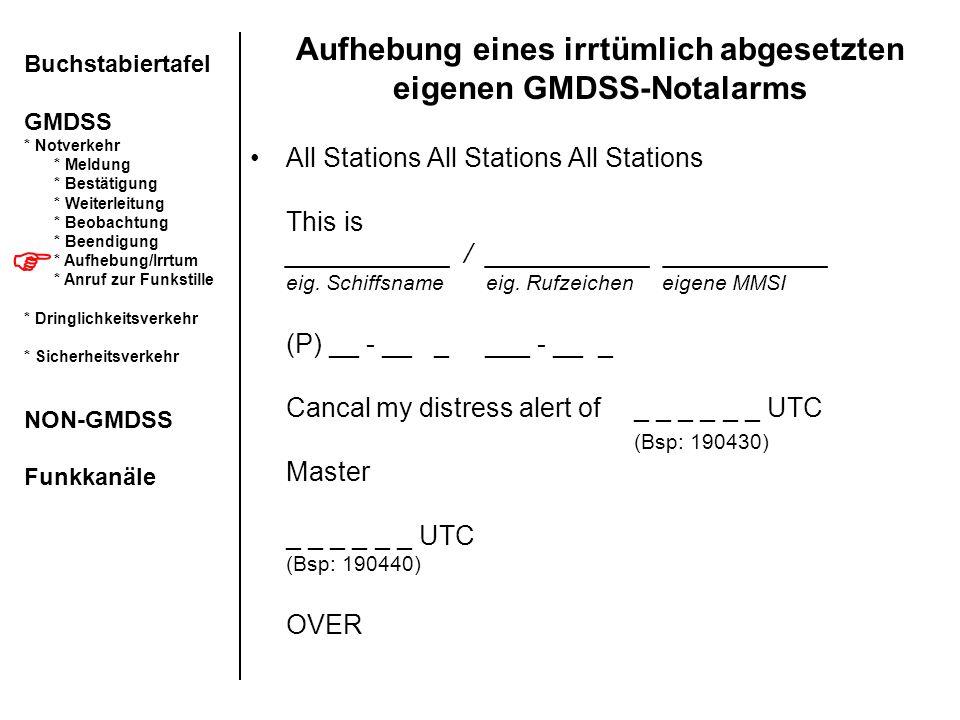 Aufhebung eines irrtümlich abgesetzten eigenen GMDSS-Notalarms All Stations All Stations All Stations This is ___________ / ___________ ___________ ei