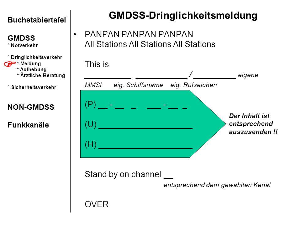 Der Inhalt ist entsprechend auszusenden !! GMDSS-Dringlichkeitsmeldung PANPAN PANPAN PANPAN All Stations All Stations All Stations This is __________