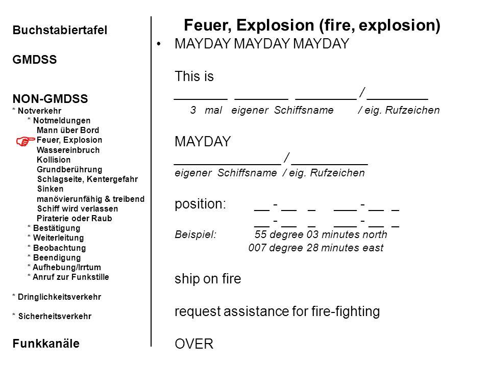 Feuer, Explosion (fire, explosion) MAYDAY MAYDAY MAYDAY This is _______ _______ ________ / ________ 3 mal eigener Schiffsname / eig. Rufzeichen MAYDAY