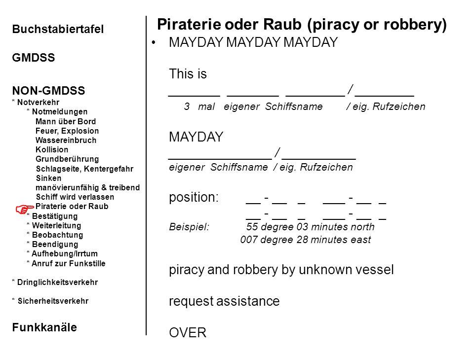 Piraterie oder Raub (piracy or robbery) Buchstabiertafel GMDSS NON-GMDSS * Notverkehr * Notmeldungen Mann über Bord Feuer, Explosion Wassereinbruch Ko