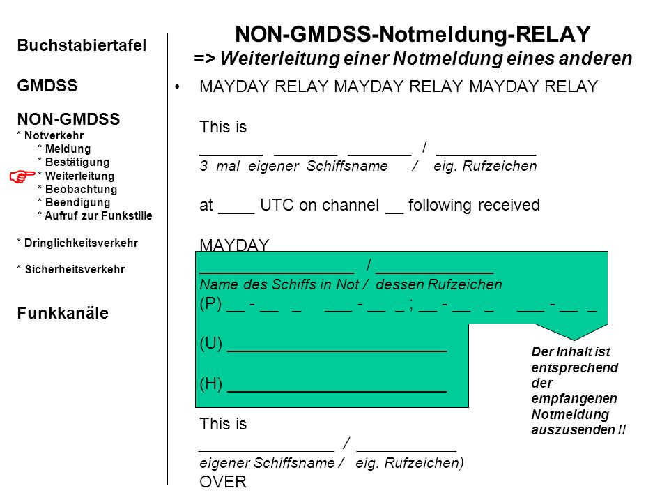 MAYDAY RELAY MAYDAY RELAY MAYDAY RELAY This is _______ _______ _______ / ___________ 3 mal eigener Schiffsname / eig. Rufzeichen at ____ UTC on channe