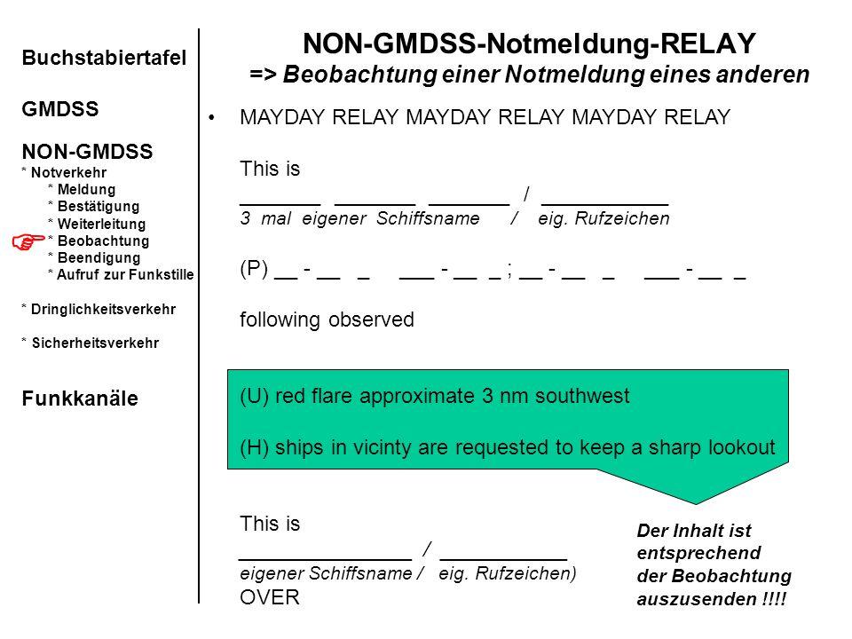 NON-GMDSS-Notmeldung-RELAY => Beobachtung einer Notmeldung eines anderen Buchstabiertafel GMDSS NON-GMDSS * Notverkehr * Meldung * Bestätigung * Weite