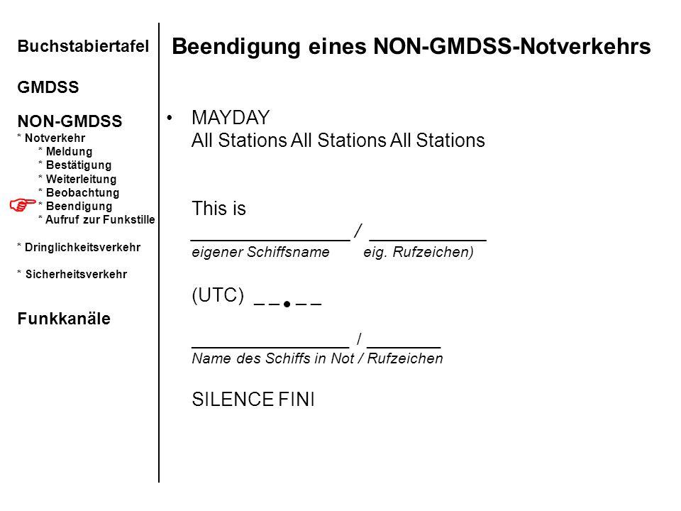 Beendigung eines NON-GMDSS-Notverkehrs Buchstabiertafel GMDSS NON-GMDSS * Notverkehr * Meldung * Bestätigung * Weiterleitung * Beobachtung * Beendigun