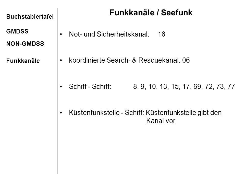 Funkkanäle / Seefunk Not- und Sicherheitskanal:16 koordinierte Search- & Rescuekanal:06 Schiff - Schiff: 8, 9, 10, 13, 15, 17, 69, 72, 73, 77 Küstenfu