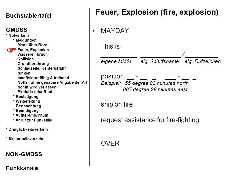 Feuer, Explosion (fire, explosion) MAYDAY This is __________ ___________ / _________ eigene MMSI eig. Schiffsname eig. Rufzeichen position: __ - __ _
