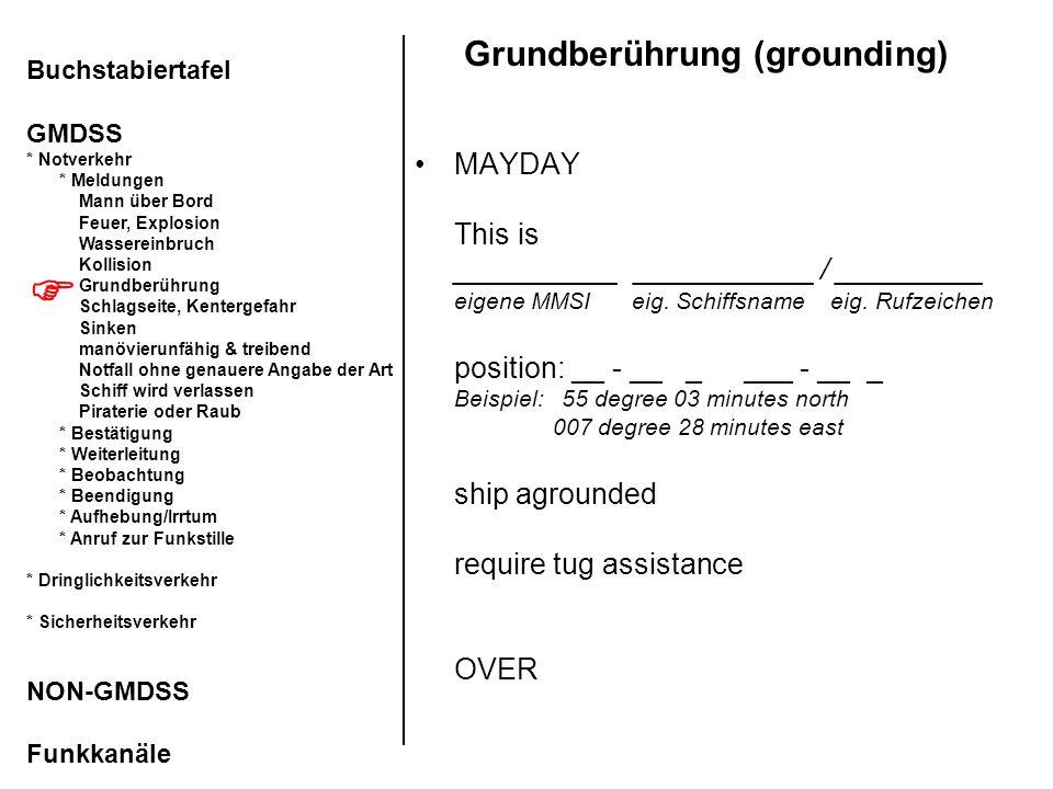 Grundberührung (grounding) MAYDAY This is __________ ___________ / _________ eigene MMSI eig. Schiffsname eig. Rufzeichen position: __ - __ _ ___ - __
