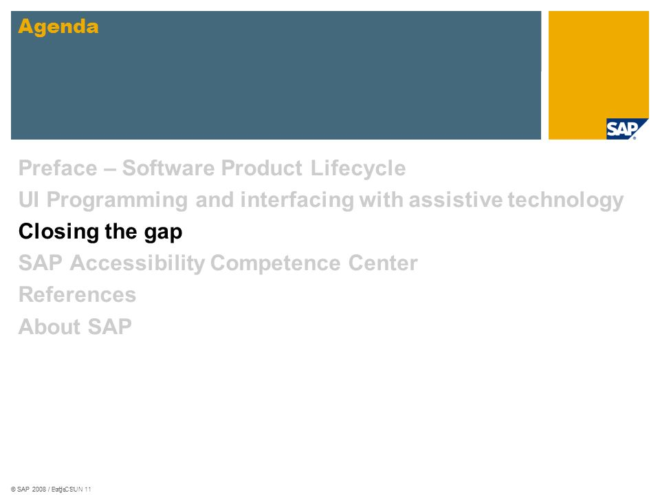 © SAP 2008 / Loff CSUN 11© SAP 2008 / Page 11 Preface – Software Product Lifecycle UI Programming and interfacing with assistive technology Closing th